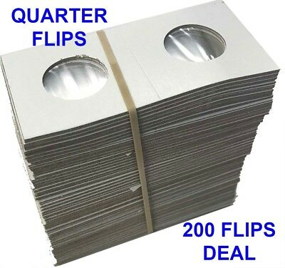 200 2x2 Coin Cardboard Flips For US Quarter Mylar Window High Quality Holders