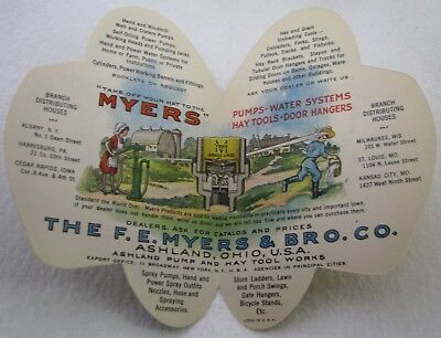 Antique Fe Myers Bro Hat Well Pump Farm Implement Advertising Trade Card