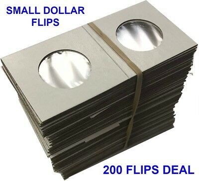 200 2x2 Coin Cardboard Flips US Small Dollar Mylar Window High Quality Holders