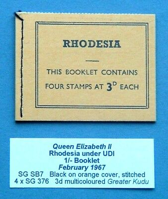 Rhodesia  1967 - 1/-Booklet (Stitched/sb7) - Excellent/unused Cond.