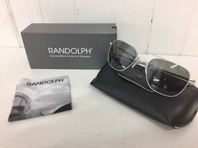 RANDOLPH AF54611 AVIATOR Matte Chrome w/ Gray 55mm Lenses Sunglasses $160 Retail