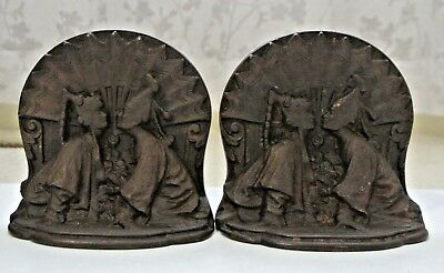 Pair Vintage Antique Solid Bronze Kissing Couple Asian Siam Figural Bookends
