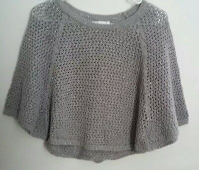 JUSTICE Girls 16/18 Gray Open Cable Knit Sparkle Poncho Bat Wing NWOT 3/4 Sleeve