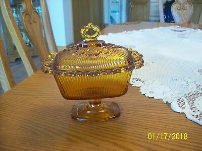 Indiana Glass Vintage Compote Pedestal Covered Ribbed Lace Rim Candy Dish