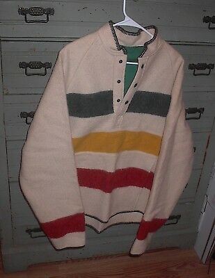 Vintage Hudson Bay Heavy Wool Coat Pullover Women's Large Very Little Use