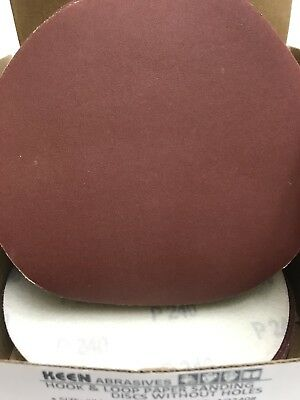 "25- 240 Grit 6"" Dia Hook & Loop Sandpaper KEEN Abrasives 74064"