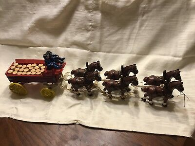 Vintage Cast Iron Budweiser Horse Drawn Beer Wagon