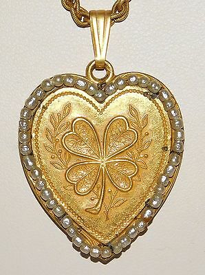 RARE Vintage Signed Miriam Haskell Four Leaf Clover Baroque Pearl Heart Necklace