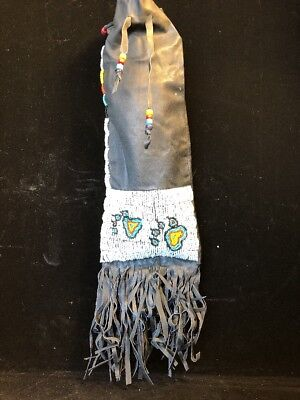 Native American Leather Beaded Pipebag
