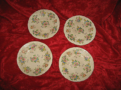 "Four Older  6"" Plates  Pretty Floral Design Gold Scalloped Edges Made In Japan"