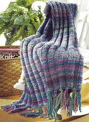 Blanket Throw Afghan Chunky Fast Knit Knitting Pattern By Email (1128)