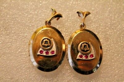 Bell Telephone service award locket pendant lot of 2 1/20th 12 carat gold filled