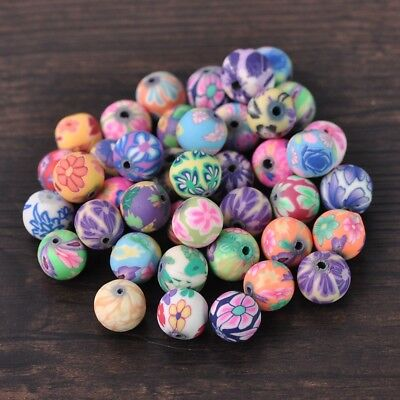 20pcs 10mm Mixed Assorted Round Polymer Clay Loose Craft Beads