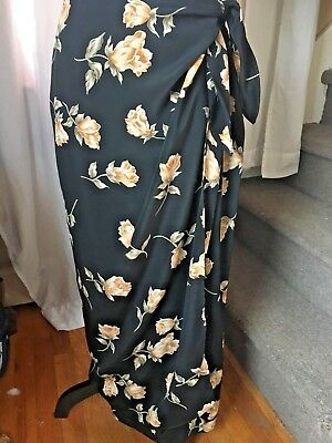 VTG MUSE SZ 10 Black with roses Wrap Look Skirt Wear to Work