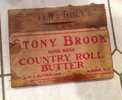 Vintage Wooden Crate End Stony Brook Sutherland Albany NY
