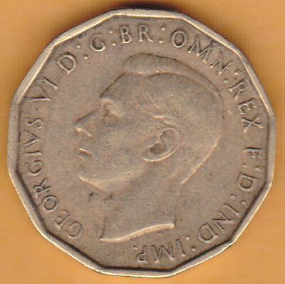 1942 UNITED KINGDOM 3 PENCE WORLD COIN - km849 - HIGH GRADE SEE SCANS