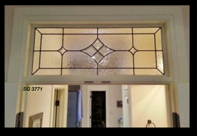 "Lead glass Transom 32"" x 14"" bevel Diamonds & Texture art Glass"