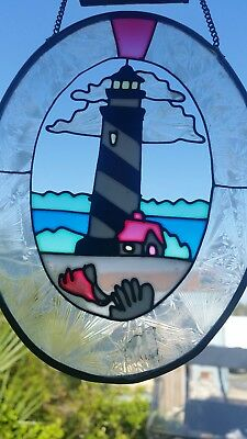 Hanging Stained Glass Panel of a lighthouse