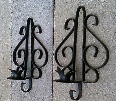 2 VINTAGE WROUGHT IRON WALL SCONCES (1 Pair) BLACK SCROLLED METAL CANDLE HOLDERS