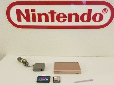 Nintendo DS Lite Metallic Pink w/ Charger + games. Tested. Excellent