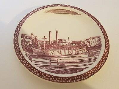 Vernon Kilns Our America Bread Plate Riverboat at Wharf Rockwell Kent