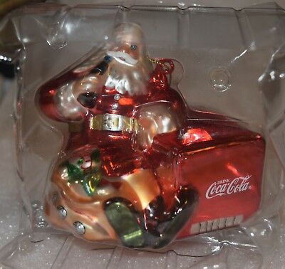 """2001 Coca Cola Blown Glass Santa Ornament """"1941 Thirst Asks for Nothing More"""""""