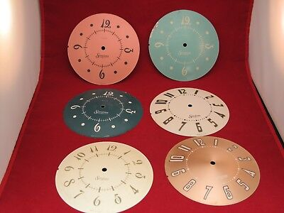 Vintage 1940 Sessions Metal Clock Faces 6 Pieces Pink & Gold Colors Steampunk