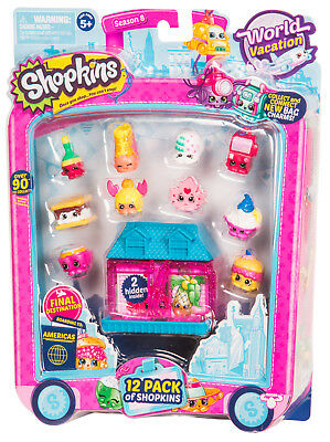 Shopkins Season 8 World Vacation - Americas 12 Pack (Pink House Blue Roof) | New