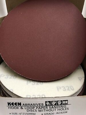 "25- 320 Grit 6"" Dia Hook & Loop Sandpaper KEEN Abrasives 32569"