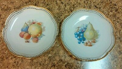 2 Schumann Arzberg Germany Porcelain Charger Cake Plate Strawberry Fruit Plates
