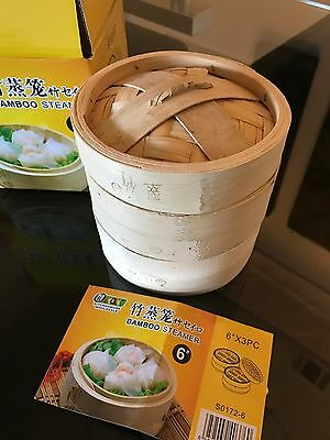 """6"""" Mini Dim Sum Bamboo Steamer Basket 2 Layer with Lid Natural"""