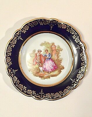 """Limoges France Rehausse Main Courting Couple Plate Cobalt Blue Gold Trim 5"""""""