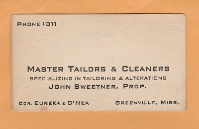 Vintage business card from John Sweetner, Tailor in Greenville Mississippi
