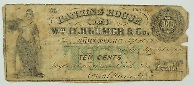 1862 10 Cents Banking House of Wm. H. Blumer & Co., Allentown, PA  Obsolete note