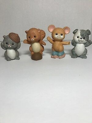 Avon Best Buddies Lot of 4 Figurines Puppy Mouse Squirrels