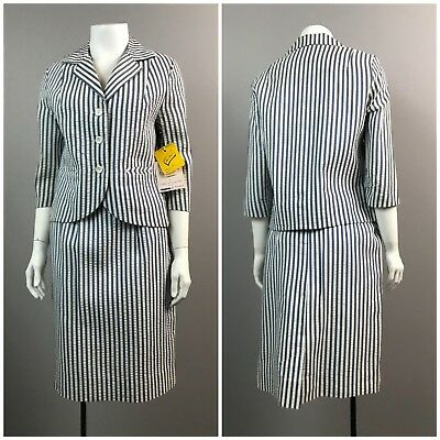Vintage NOS Deadstock 1960s Blue and White Stripe Blazer and Pencil Skirt Set XS