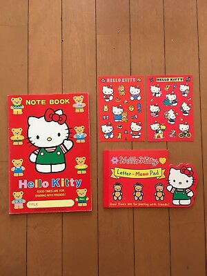 Vintage Sanrio hellokitty Notebook, memo pad , sticker x 2