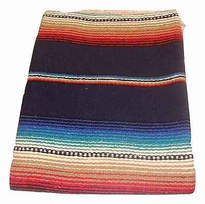776 New Mexican Heavy Serape Saltillo Falsa Blanket Authentic Original Navy Blue