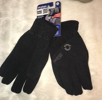 Degrees by 18os Men's Exhale Heating System Warm Fleece Gloves Black L/XL NWT