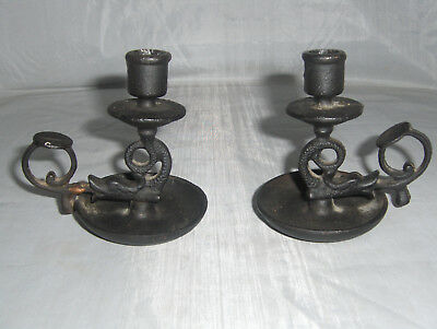 Antique Ornate Cast Iron Pair Of Candle Stick Holders Cleveland Ohio Foundry