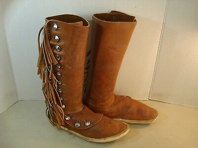 Southwest Custom Native American Leather Fringe Button Down Moccasin Boots SIZE*