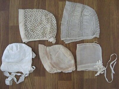 ANTIQUE VICTORIAN  SILK NET LACE SLEEPING BED CAP BONNET Women Child Baby 5 Pcs