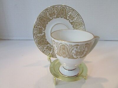 Vtg Pmr Bavaria Jaeger & Co Demi Cup And Saucer Gold And White Germany