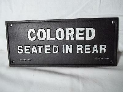 Cast Iron Segregation Sign Colored Seated In Rear! Wall Mount Heavy Sign