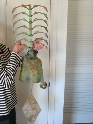 "40"" Arcosanti Soleri Weathered Bronze Fishbone Bell(HUGE 24X10 BELL)* BEAUTY #G7"