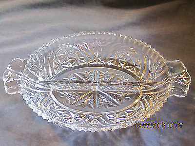 "Clear Glass 2-Part Relish Dish - Thousand Line ""Stars and Bars"" Pattern - Anchor"