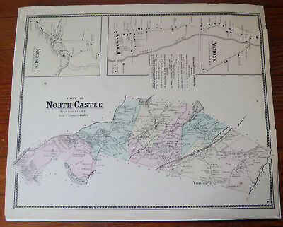 ANTIQUE MAP of NORTH CASTLE WESTCHESTER CO NY with Armonk & Kensico 1867