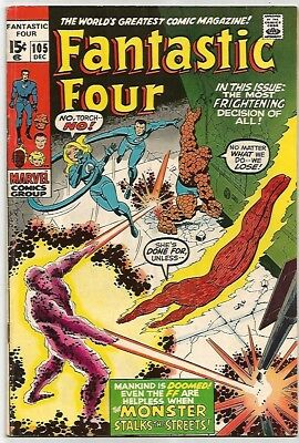 FANTASTIC FOUR #105    Beautiful Early Silver Age  FN/VF7.0