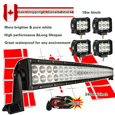 "42Inch LED Light bar Curved + 4x 4"" CREE LED Pods Off road SUV Jeep 4WD Truck 40"