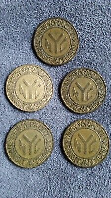 Vintage Lot of 5 New York City Transit Authority NYC Subway 'Y' Solid Tokens